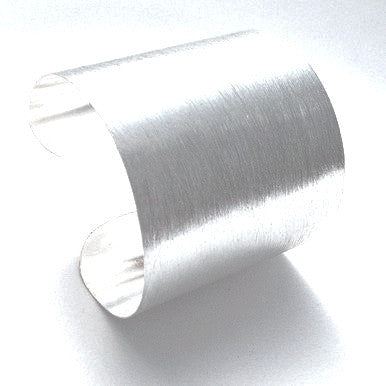 Silver Plated Maxi Cuff Bracelet in Brushed Finish
