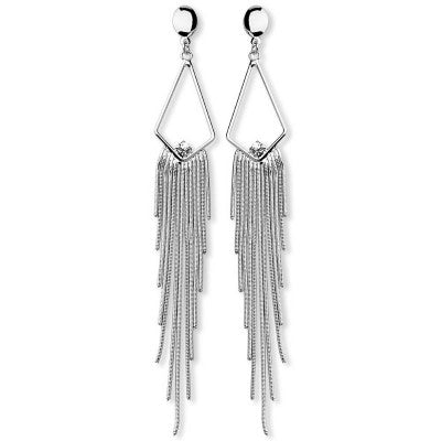 Silver Plated Maxi Earrings with Snake Tassel and Large Strass Stone