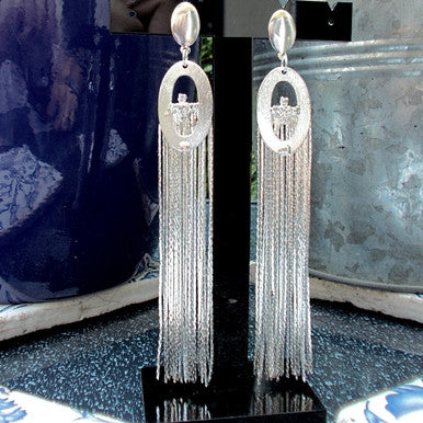 Silver Plated Maxi Tassel Earrings with Strass Detail