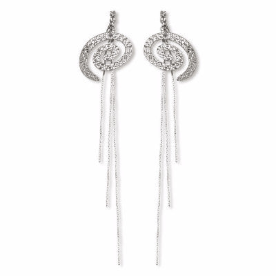 Silver Plated Maxi Whirl Earrings with Strass and Tassel
