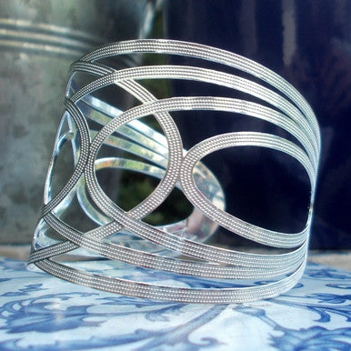Silver Plated Oval Design Cuff