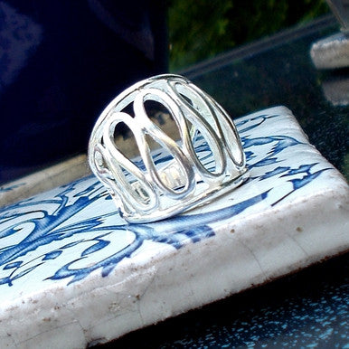 Silver Plated Fancy Oval Design Ring