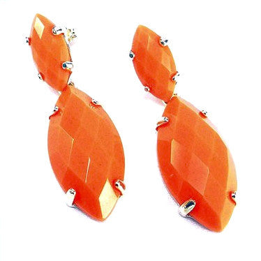 Silver Plated Oval Shaped Stone Effect Earrings
