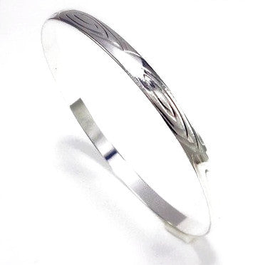 Silver Plated Patterned Bangle