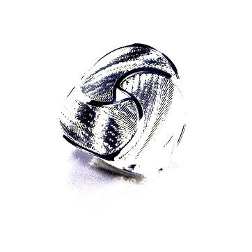 Silver Plated Ring with Contemporary Paisley Design