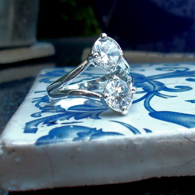 Silver Plated Ring with Cubic Zirconias