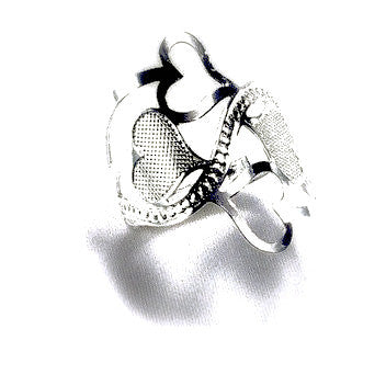 Silver Plated Ring with Cute Hearts Design