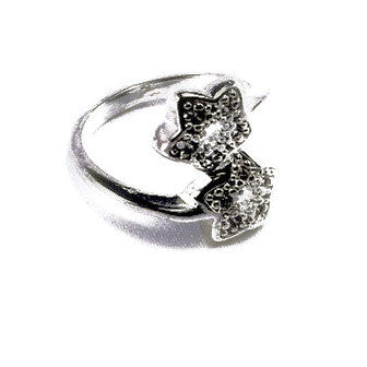 Silver Plated Twin Stars Ring with Small Zirconias
