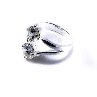 Silver Plated Ring with Two Cubic Zirconias