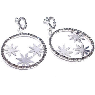 Silver Plated Round Earrings with Flower Design and Strass Stones