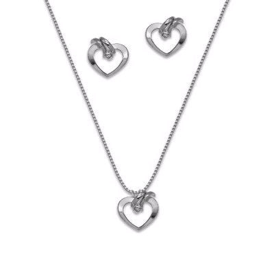 Silver Plated Set of Heart Earrings, Pendant and Chain with Strass and Rhodium
