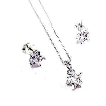 Silver Plated Set of Star Earrings, Pendant & Chain with Cubic Zirconia