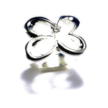 Silver Plated Shamrock Ring with Zirconia