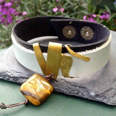 Grey and Black Leather Bracelet with Tiger Eye