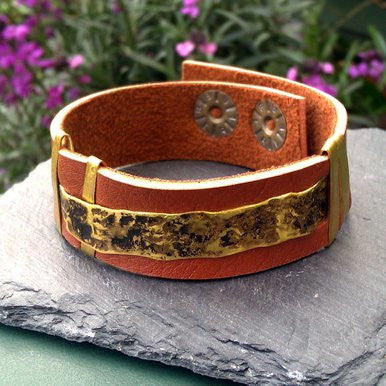 Simple Brown Leather Bracelet with Metal Ornament