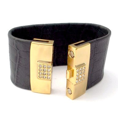 Smoky Grey Leather Bracelet with 18ct Gold Plated Clasp