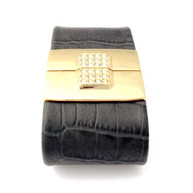Leather Bracelet with 18ct Gold Plated Clasp
