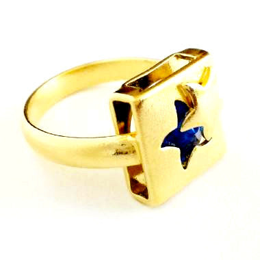 18ct Gold Plated Square Ring with Sapphire Effect Star