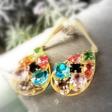 18ct Gold Plated Teardrop Earrings with Multicoloured Murano Stones