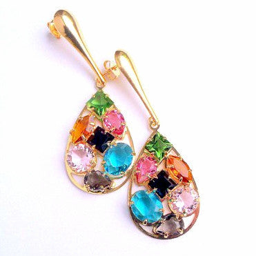 18ct Gold Plated Teardrop Earrings with Multicoloured Murano Stones18ct Gold Plated Teardrop Earrings with Multicoloured Murano Stones