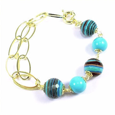 18ct Gold Plated (Green Finish) Bracelet with Turquoises