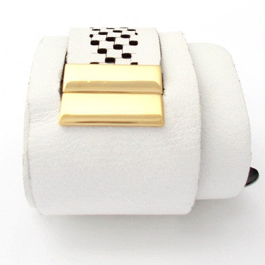 White Leather Bracelet with 18ct Gold Plated Clasp