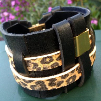 Wide Black and Animal Print Leather Bracelet with Gold Plated Detail