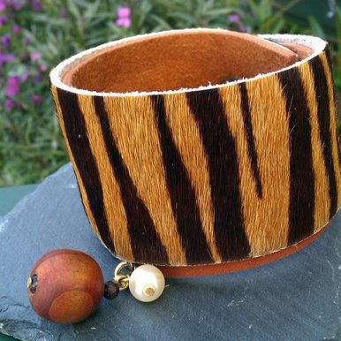 Wide Brown and Animal Print Leather Bracelet with Wood Ball and Glass Pearl