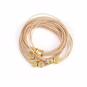 Wrap Around Buriti Palm Straw Bracelet with Strass
