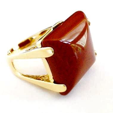 18ct Gold Plated Ring with Brown Agate Gemstone