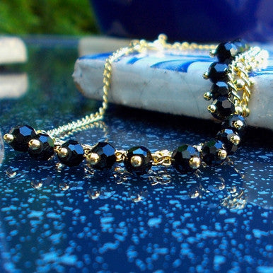 18ct Gold Plated Black Beads Design Bracelet