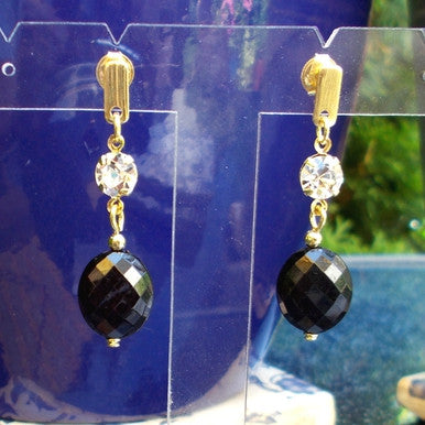 18ct Gold Plated Black Stone Effect Earrings with Strass