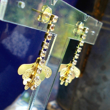 18ct Gold Plated Butterfly Wing Earrings with Row of Strass Stones