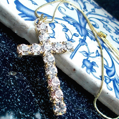 18ct Gold Plated Chain and Cross Pendant with Strass Stones