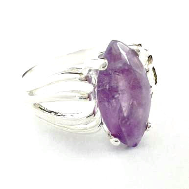 Silver Plated Amethyst Ring in Retro Look