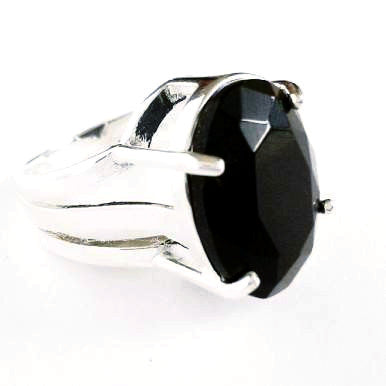 Silver Plated Ring with Black Agate Gemstone