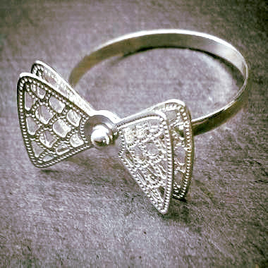Silver Plated Ring with Double Bow Motif