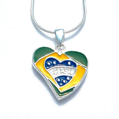 Silver Plated Heart Shaped Pendant with Brazilian Flag and Chain