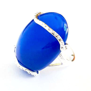 Silver Plated Ring with Large Blue Agate Gemstone