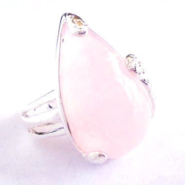 Silver Plated Ring with Teardrop Shaped Rose Quartz