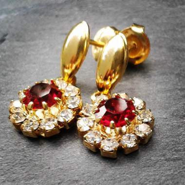 18ct Gold Plated Small Red Stone Effect Earrings with Strass Stones