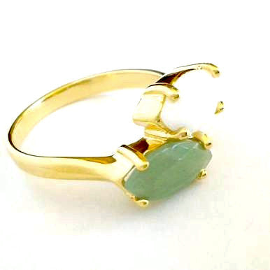 18ct Gold Plated Ring with Small Green and White Quartz