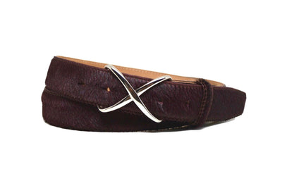 CALF HAIR OXBLOOD BELT