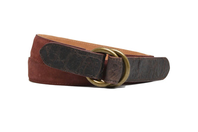 O RINGS BURGUNDY SUEDE/CROC BELT
