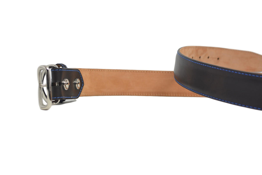 MUSEUM BROWN BELT W/ BLUE STITCHING