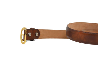 MUSEUM COGNAC BELT W/ BROWN STITCHING