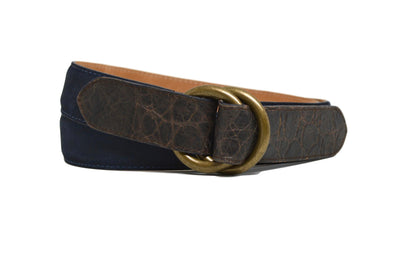 O RINGS NAVY SUEDE/ CROC BELT