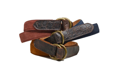 O RINGS TOBACCO SUEDE/CROC BELT