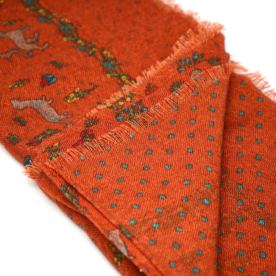CALABRESE 1924 - SCARF - ORANGE FOX MOTIF