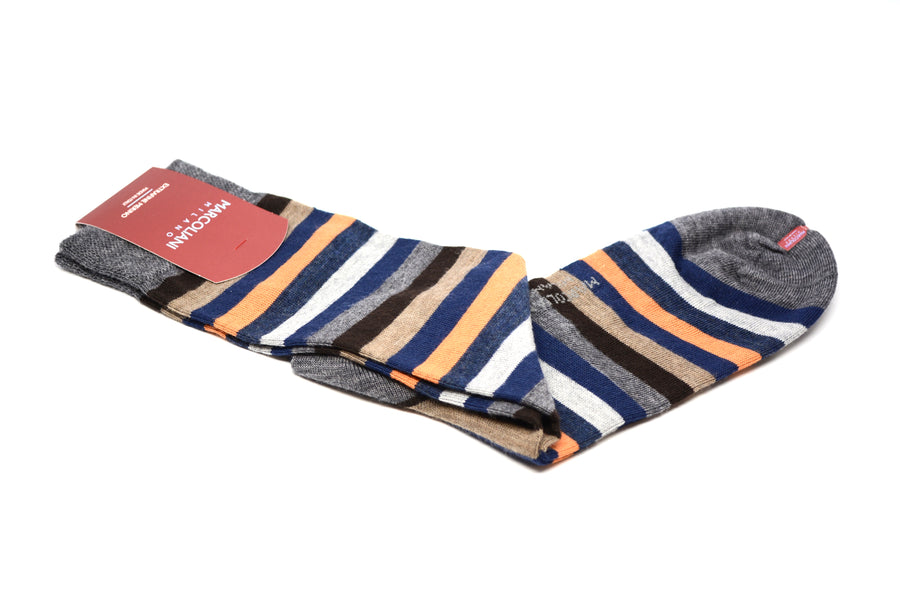 MARCOLIANI - MERINO RAINBOW STRIPE - BLUE / ORANGE